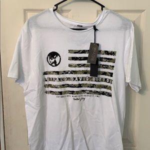 Men's White/Army Camo T-shirt.